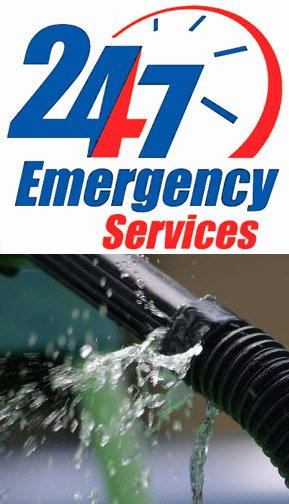 24/7 emergency services and image of burst pipe